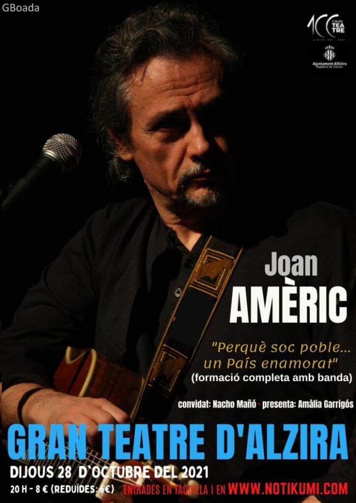 Joan Amèric presenta el seu últim espectacle a Alzira en el primer gran concert de la celebració del centenari del Gran Teatre