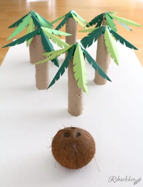 Partyspiel Dschungelparty Palmenkegeln mit Kokosnuss