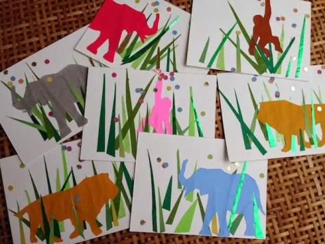 selbst gebastelte Einladungen für eine Dschungelparty vom Blog Honigbaum