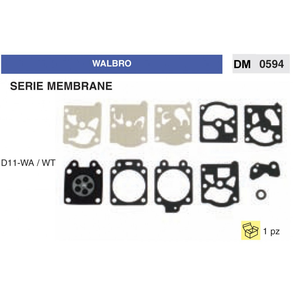 Kit Membrana Carburatore Motosega Walbro D11WA  WT  ricambi giardinaggio