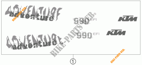 ADESIVI per KTM 990 ADVENTURE ORANGE ABS 2006 # KTM