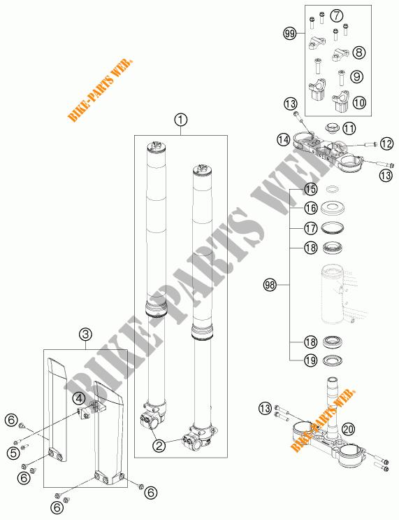 FORCELLA ANTERIORE / PIASTRA STERZO INFERIORE per KTM