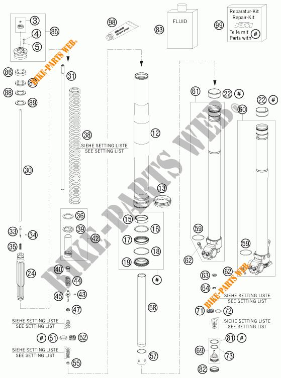 FORCELLA ANTERIORE (COMPONENTI) per KTM 690 ENDURO R 2010