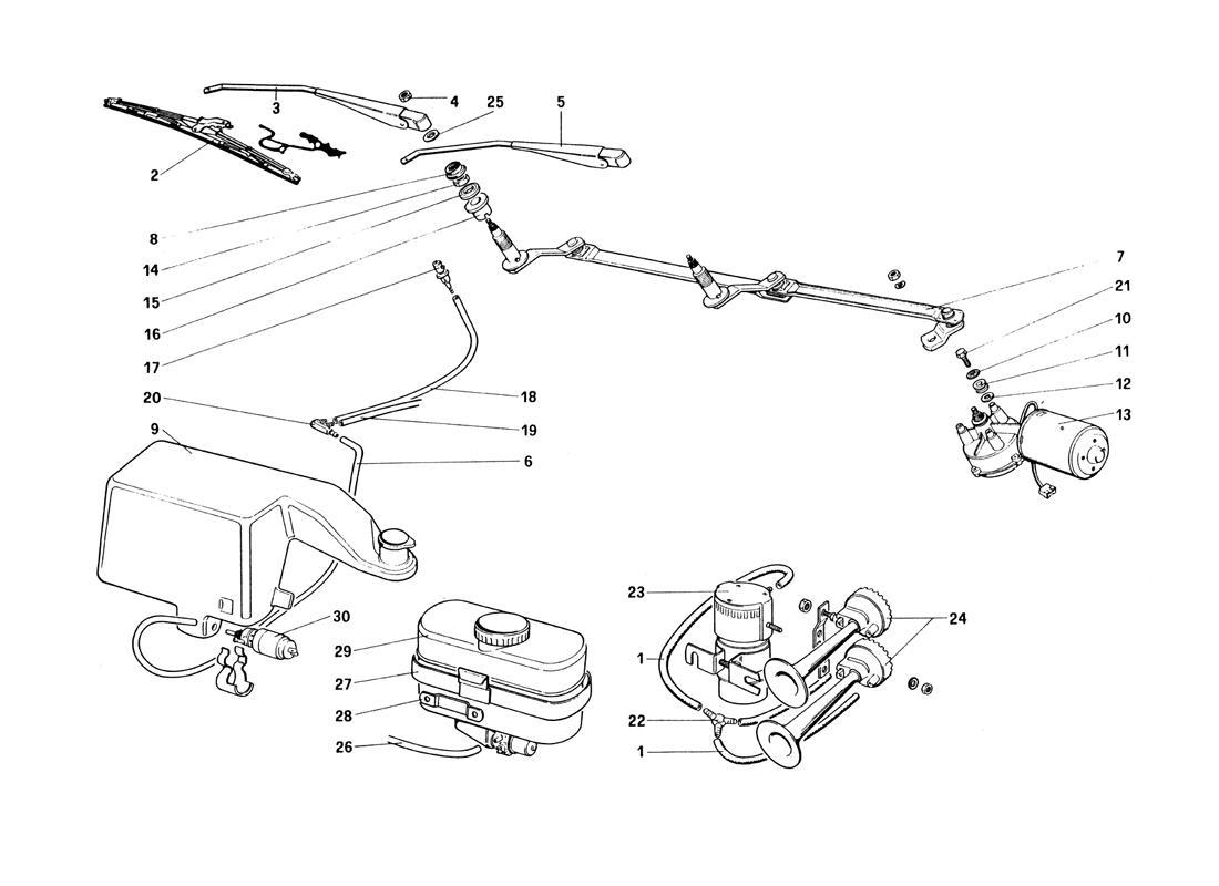 Ferrari 328 Windshield Wiper Washer And Horn
