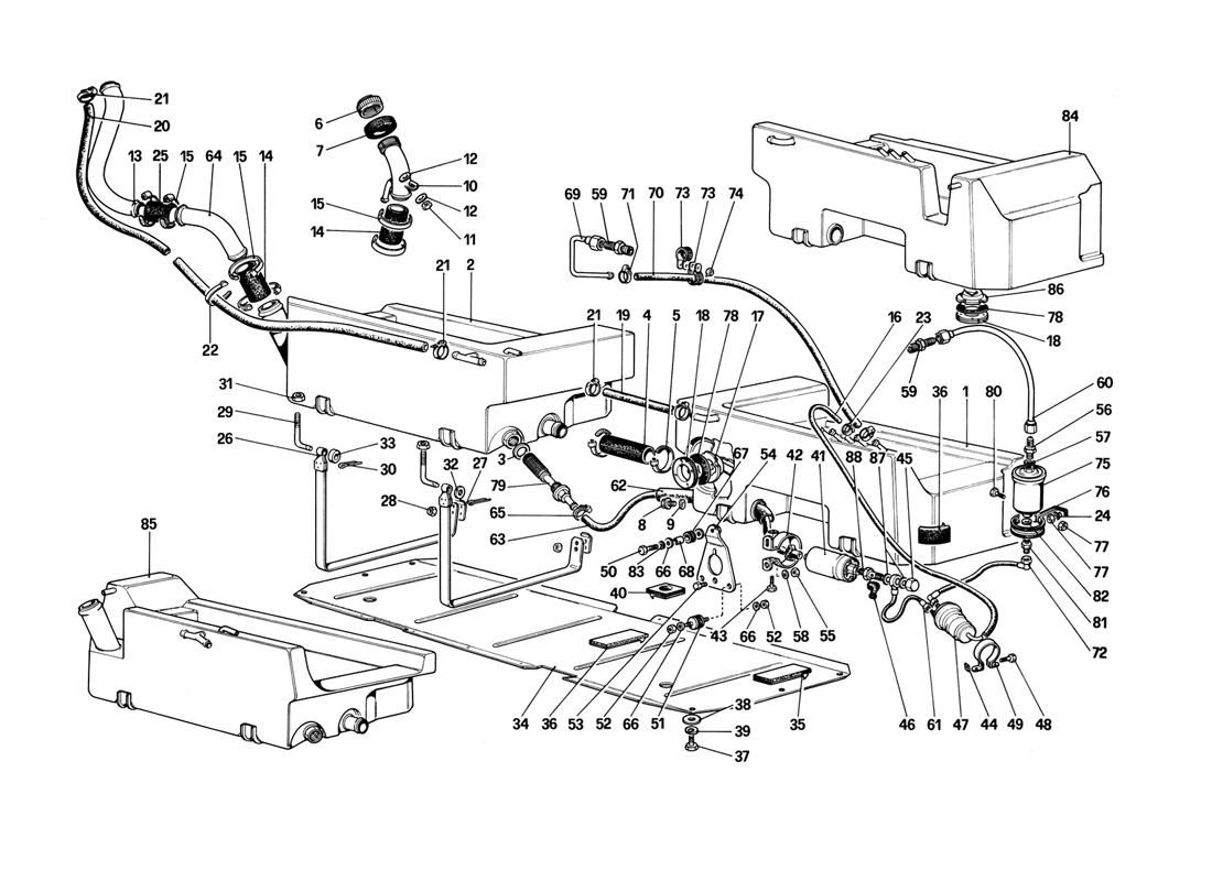 Ferrari Mondial 3 2 Fuel Pump And Pipes For Us Version