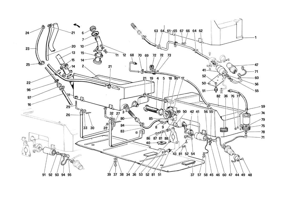 Ferrari Mondial Qv Fuel Pump And Pipes Quattrovalvole