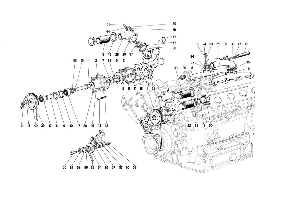 Ferrari Mondial Qv Water Pump And Piping