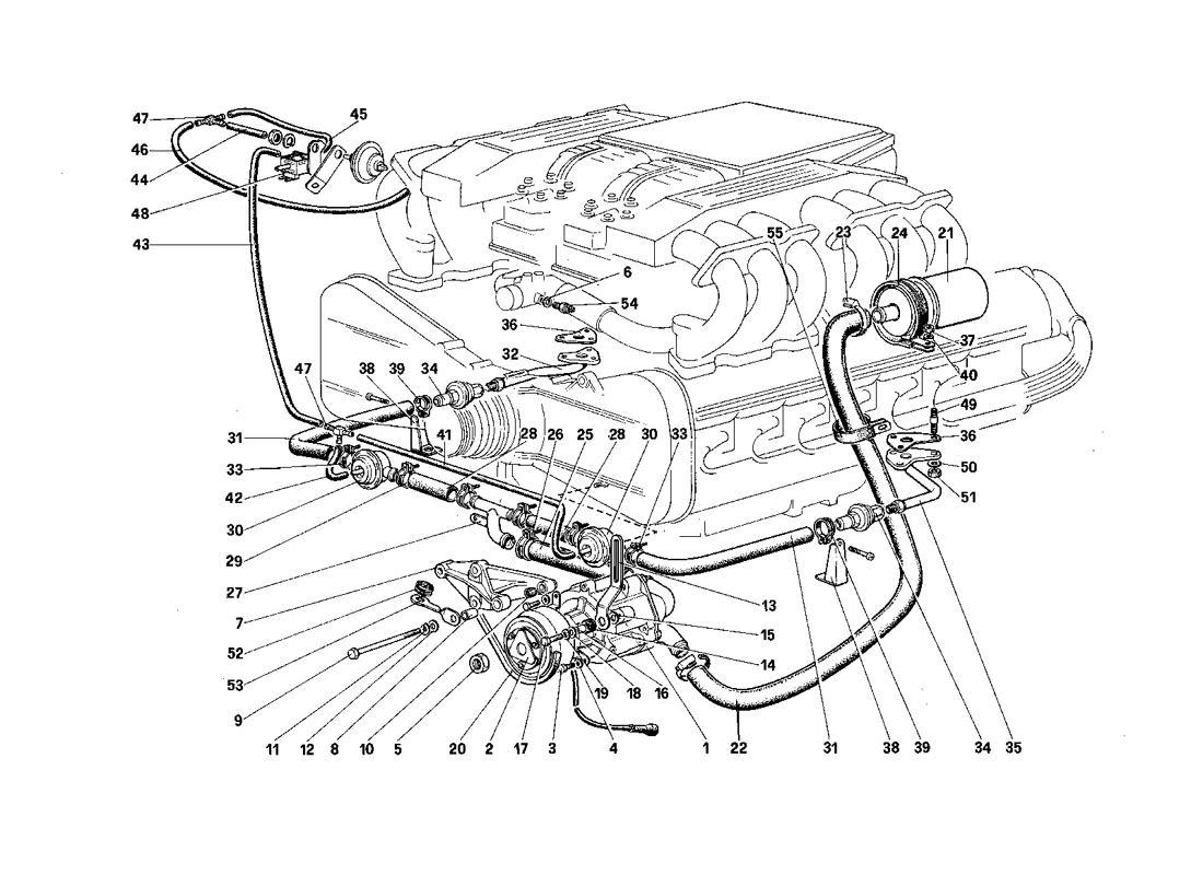 Ferrari Testarossa (1987) SECONDARY AIR PUMP AND LINES