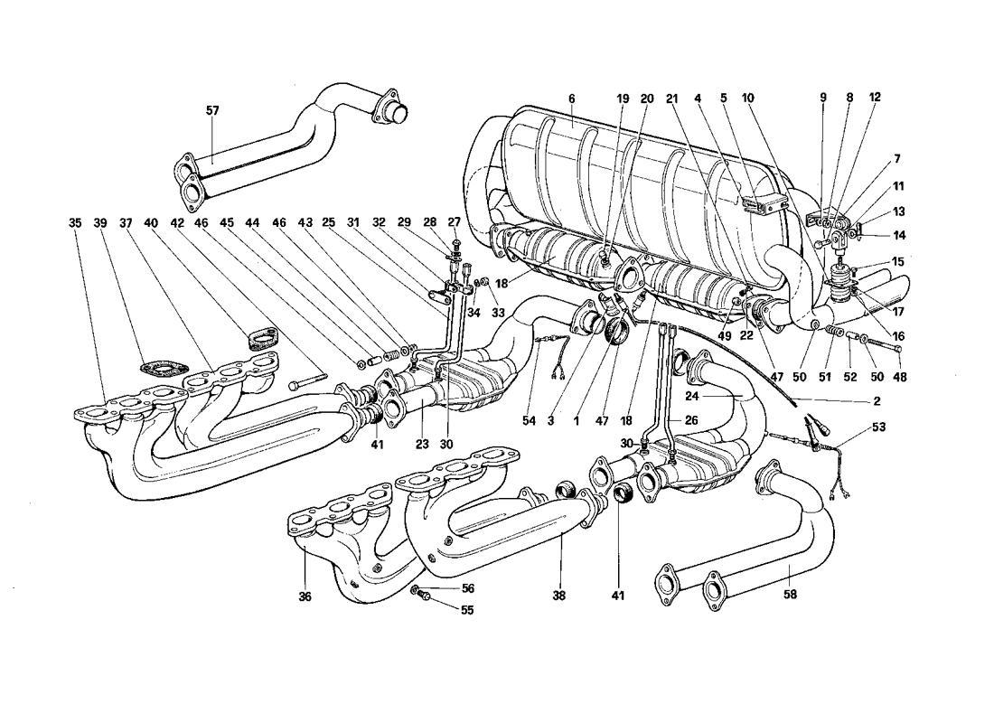 Ferrari Testarossa Exhaust System For U S