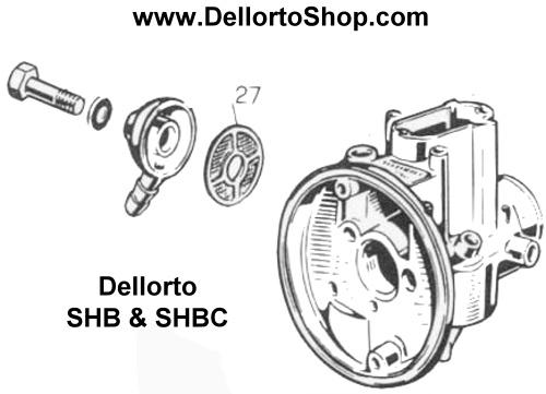 (27) Banjo Fuel Filter for Dellorto SHBC and SHB