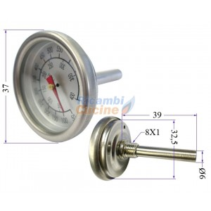 termometro forno barbecue 0C a 400C in acciaio  Ricambi