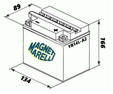 BATTERIA MAGNETI MARELLI YB14L-A2 12V 14Ah PIAGGIO X9 500