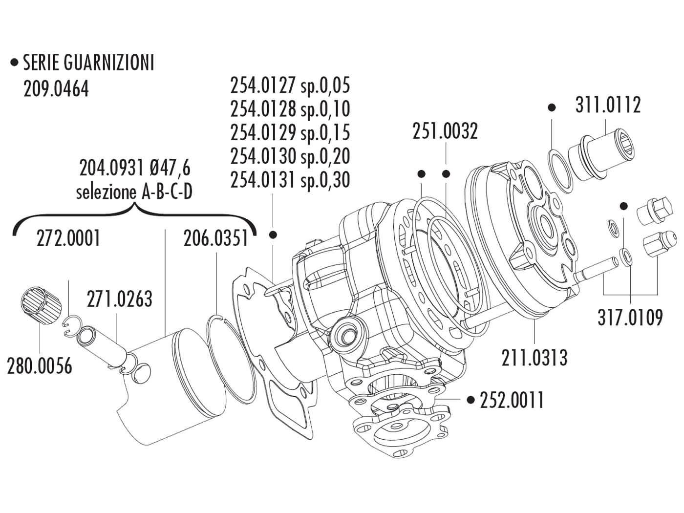 140.0207 cylinder polini big evo 70cc d.47, 6 piaggio nrg