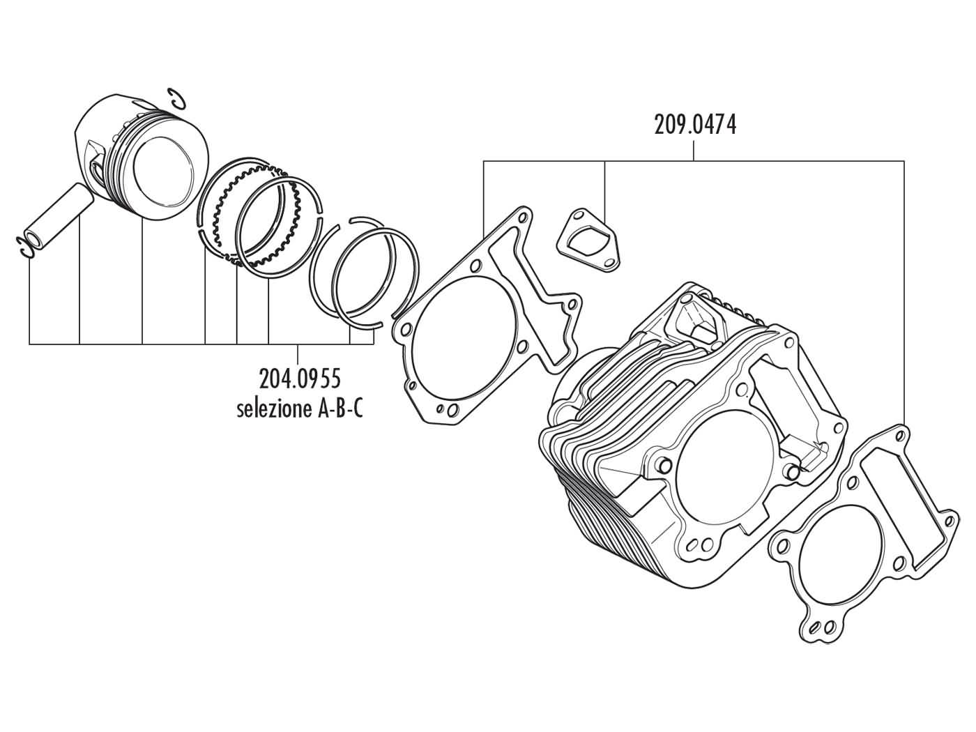 140.0216 Set Polini Cylinder + ECU Piaggio Vespa 125/150