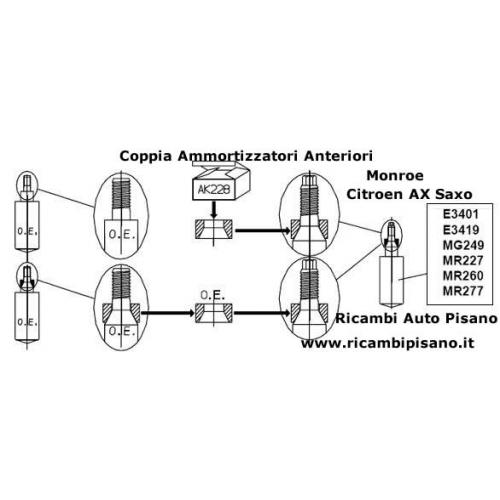 Coppia ammortizzatori Anteriori Monroe Citroen AX Saxo