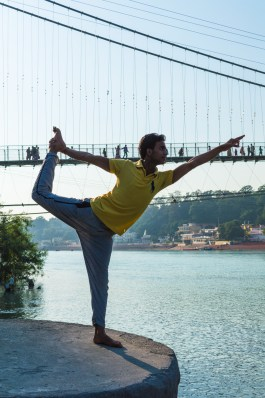 Vimal Pandeyy in Natarajasana at Ram Juhla Bridge - Rishikesh