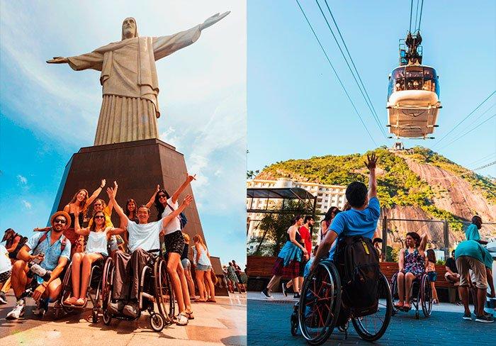 imagem montada, com duas fotos. À esquerda aparece um grupo de pessoas posando em frente ao Cristo Redentor, e à direita o Bondinho do Pão de Açucar visto de baixo.
