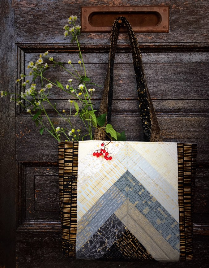Jolly Braid Tote Bag using Zen Chic Modern Backgrounds Luster fabrics by Moda