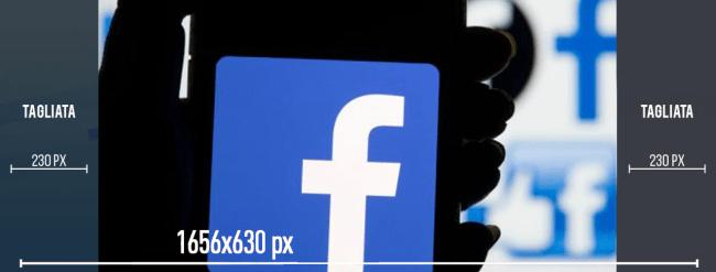 Usando le dimensioni consigliate per la copertina della pagina, ecco come verrà tagliata la copertina dei gruppi Facebook.