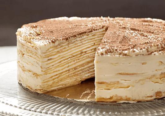 Torta a strati di Crepes e crema al Tiramisu