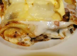 lasagne con melanzane cotto e mozzarella