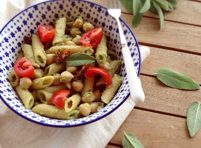 pasta fredda pesto di zucchine ceci pomodorini vegan pasta salad chickpea