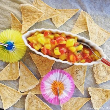nachos al forno salsa piccante mango sauce