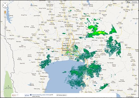 Rain maps for bangkok and central thailand richard barrow in thailand as you can see jans map shows more of the rain while the rain radar only shows heavy storms he also uses a google map which means you can zoom in and gumiabroncs Images