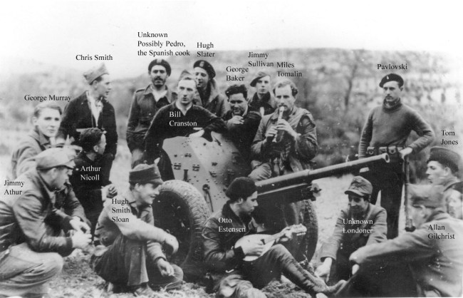 Members of the British Anti-tank Battery relaxing at their base in Ambite