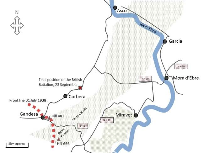 Map of British involvement in the Ebro offensive, 25 July to 23 September 1938