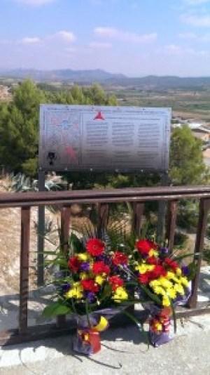 The plaque at Corbera d'Ebre