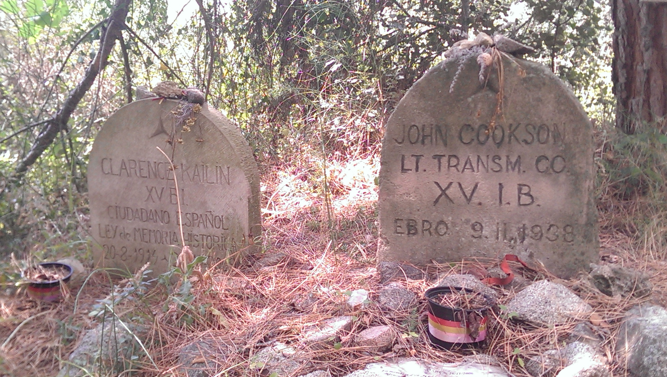 Grave of American volunteer, John Cookson, killed during the Battle of the Ebro
