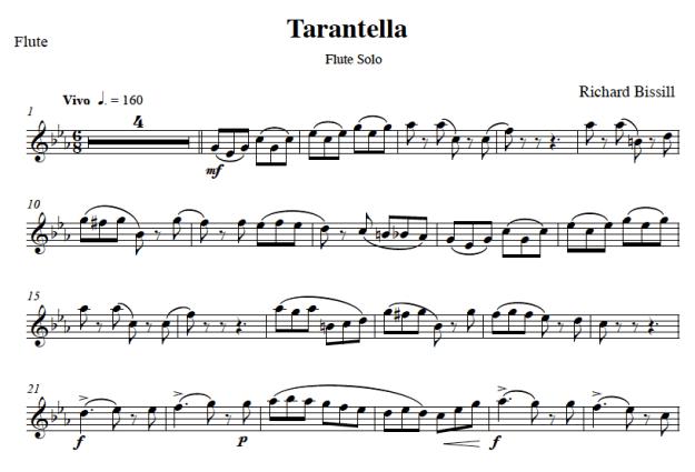 Tarantella, for Flute and Piano