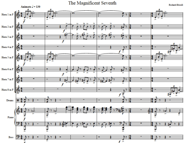 The Magnificent Seventh, for 8 horns, Piano, Bass and Drums