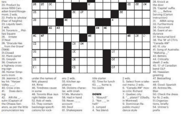 Metro Canada Crossword Hint: The Answer to 6 Down is
