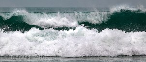 Waves breaking on Porthmeor Beach, St Ives, Cornwall