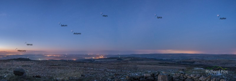 5 Planet Alignment The 5 planets from Rippon Tor which visible in the pre-dawn sky. Mercury, Venus, Saturn, Mars, and Jupiter.