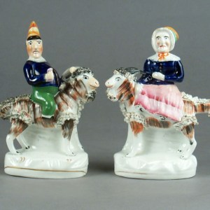 ANTIQUE STAFFORDSHIRE FIGURES OF MR & MRS PUNCH