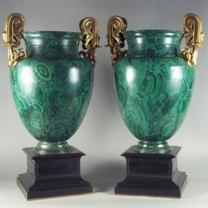 ANTIQUE PAIR FRENCH TOLEWARE SIMULATED MALACHITE VASES