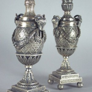 ANTIQUE PAIR OF RUSSIAN SILVER CANDLE VASES