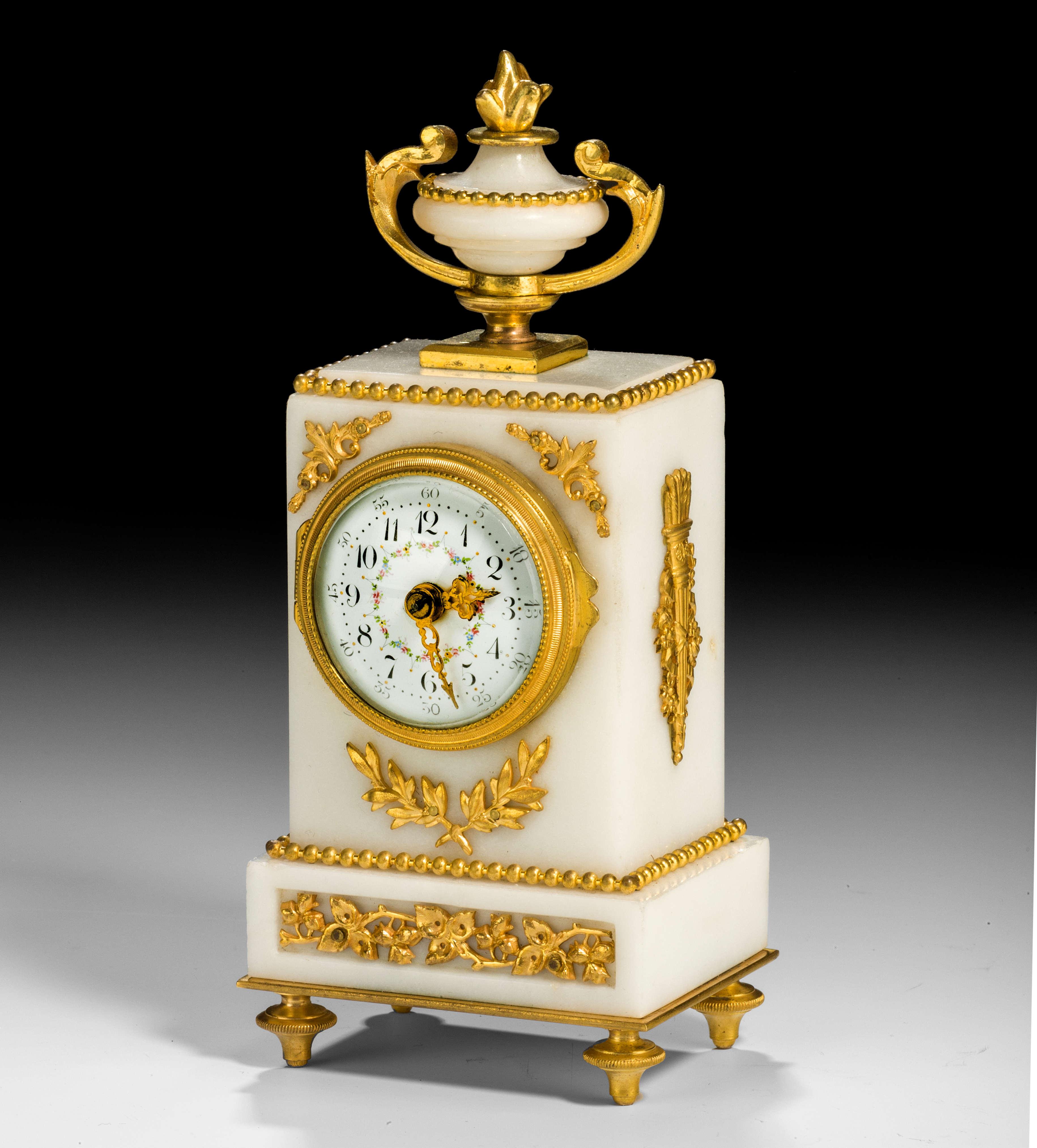 Antique Miniature White Marble Mantel Clock