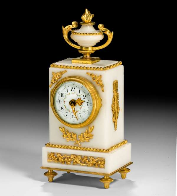 ANTIQUE MINIATURE WHITE MARBLE MANTEL CLOCK