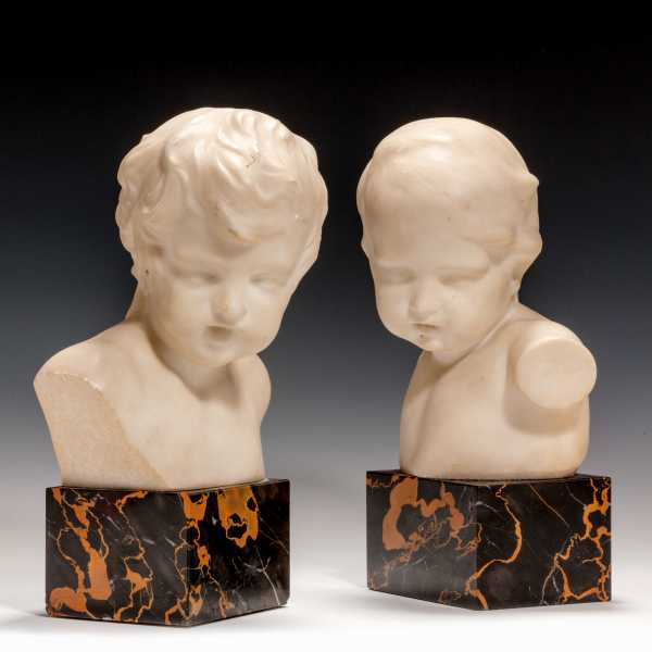 PAIR OF ANTIQUE MARBLE BUSTS OF CHILDREN