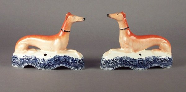 ANTIQUE STAFFORDSHIRE FIGURES OF GREYHOUNDS
