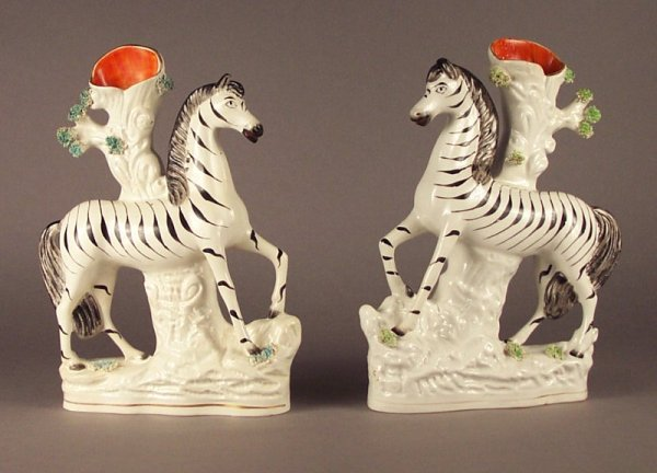 ANTIQUE STAFFORDSHIRE FIGURES OF STANDING ZEBRAS