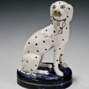 ANTIQUE STAFFORDSHIRE FIGURE OF A DALMATIAN DOG