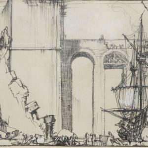 FRANK BRANGWYN-PEN & INK DRAWING-BRIDGE OF EMPIRE