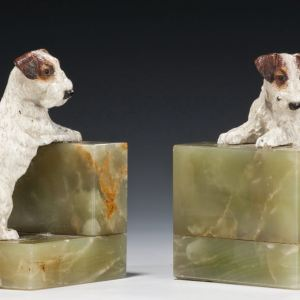 ANTIQUE PAIR OF BRONZE DOG & ONYX BOOKENDS