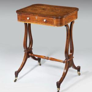 ANTIQUE REGENCY ROSEWOOD WORK TABLE