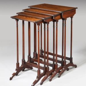 ANTIQUE ROSEWOOD NEST OF FOUR TABLES